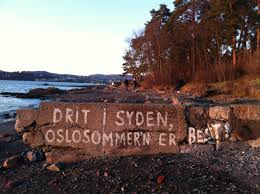 Writing on a wall on the Beach in Bygdøy