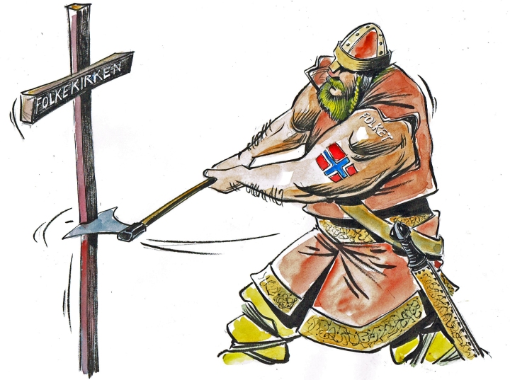 On the cross: (Norwegian) People's Church. Illustration Ole Johnny Hansen for afroginthefjord.com